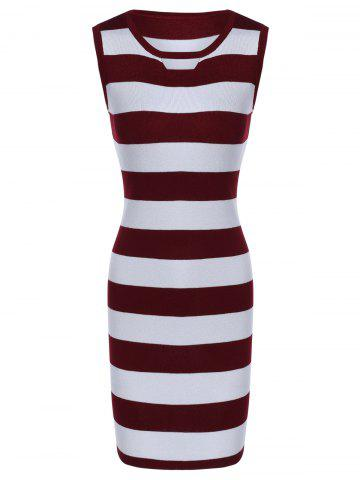 Affordable Sleeveless Hollow Out Striped Knitted Dress -   Mobile