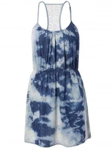 Trendy Spaghetti Strap Tie-Dyed Lace Spliced Dress