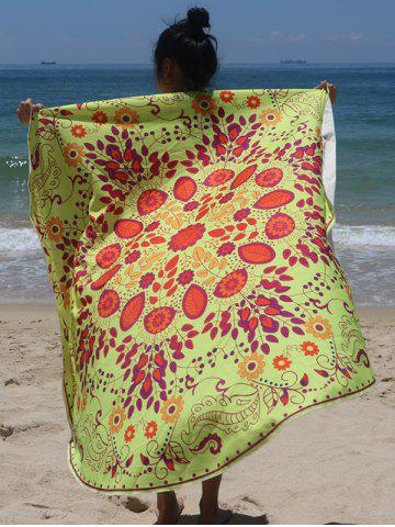Buy Circle Plant Print Beach Cover Up FLUORESCENT YELLOW ONE SIZE