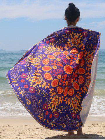 Unique Sun-Resistant Floral Print Chiffon Beach Cape PURPLE ONE SIZE
