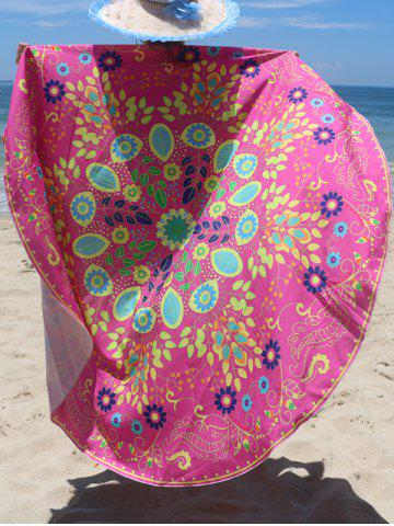 Shops Circle Floral Pattern Beach Chiffon Cover Up ROSE RED ONE SIZE