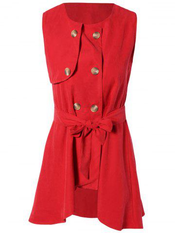 Discount Red Belted Asymmetrical Dress