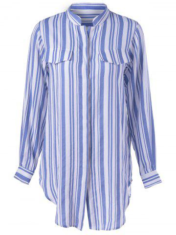 Affordable Contracted Stripe Long Sleeve Shirt For Women BLUE AND WHITE XL