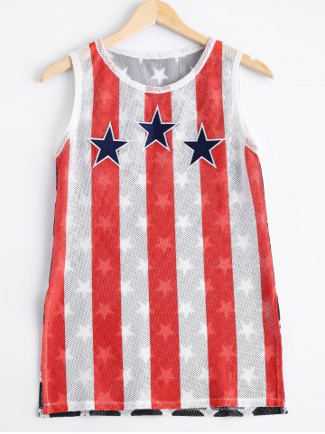 American Flag Print Patriotic Tank Top - Black And White And Red - S