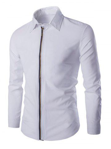 Affordable Chic Zipper Openning Turn-Down Collar Long Sleeve Shirt For Men - M WHITE Mobile
