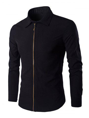 Trendy Chic Zipper Openning Turn-Down Collar Long Sleeve Shirt For Men - XL BLACK Mobile