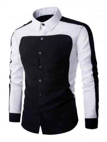 Online Color Splicing Turn Down Collar Long Sleeve Shirt For Men