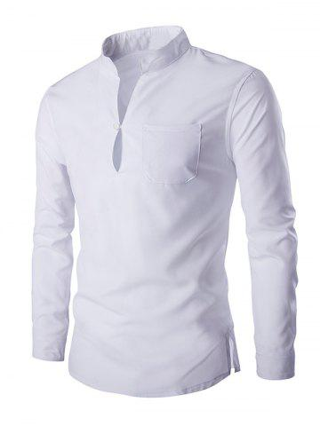 Unique Mandarin Collar Long Sleeve Slim Fit Shirt WHITE 2XL