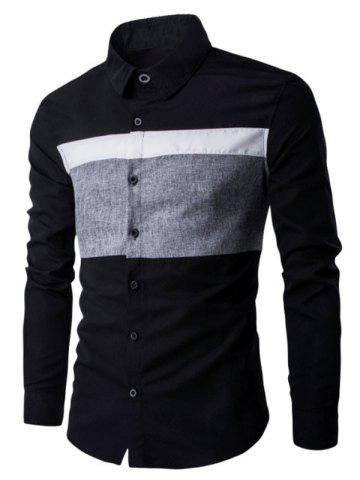 Online Turn Down Collar Color Spliced Long Sleeve Shirt For Men BLACK 3XL