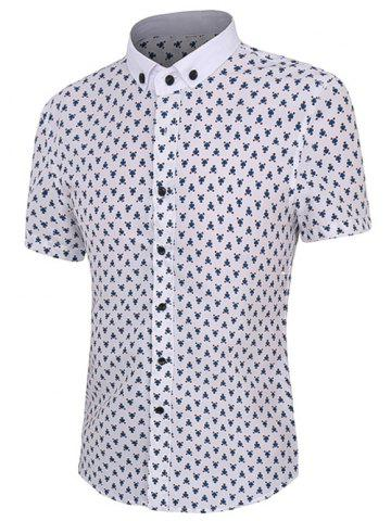 Fashion Floral Printing Short Sleeves Button-Down Shirt For Men