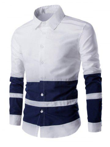 Shops Turn Down Collar Color Splicing Long Sleeve Shirt For Men WHITE L