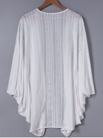 New Fashionable 3/4 Sleeve Loose-Fitting Lace Spliced Cardigan - ONE SIZE WHITE Mobile