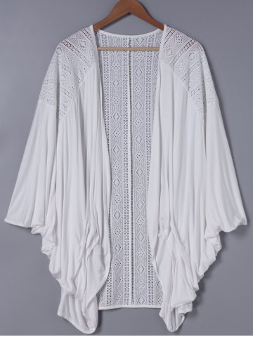 Outfits Fashionable 3/4 Sleeve Loose-Fitting Lace Spliced Cardigan
