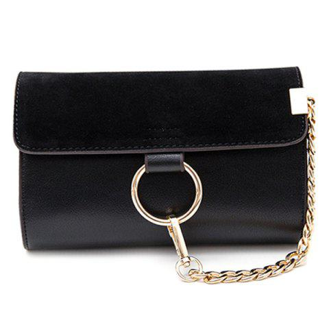 Fancy Trendy Splicing and Metal Ring Design Crossbody Bag For Women