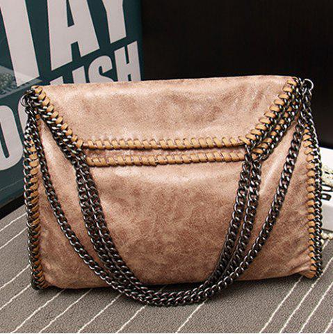 Fashion Fashion PU Leather and Chains Design Shoulder Bag For Women - DARK APRICOT  Mobile