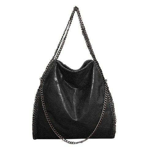 Fashion Fashion PU Leather and Chains Design Shoulder Bag For Women BLACK