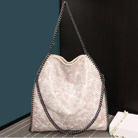 Fancy Fashion PU Leather and Chains Design Shoulder Bag For Women OFF-WHITE