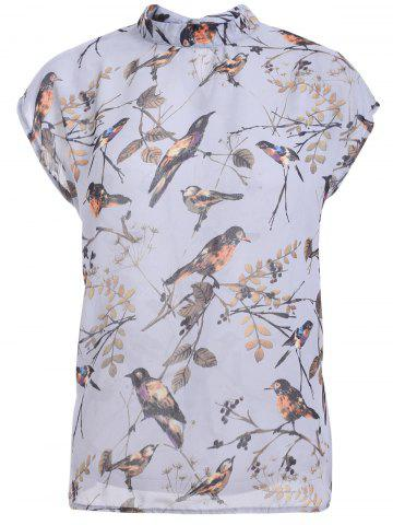 Shop Elegant Cap Sleeve Printed Chiffon Blouse For Women
