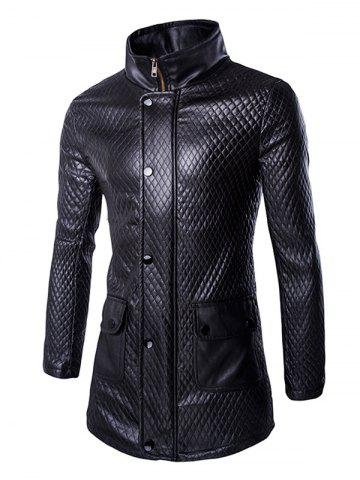 New Retro Style Pockets Design Funnel Collar Leather Coat For Men BLACK 2XL