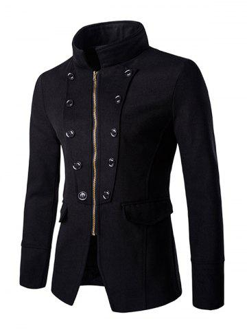 Chic Buttons Design Stand Collar Zipper Openning Overcoat For Men - Black - M