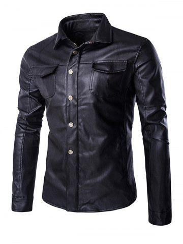 Style rétro Turn-Down Collar Flap-conception de poche en cuir Coat For Men Noir XL