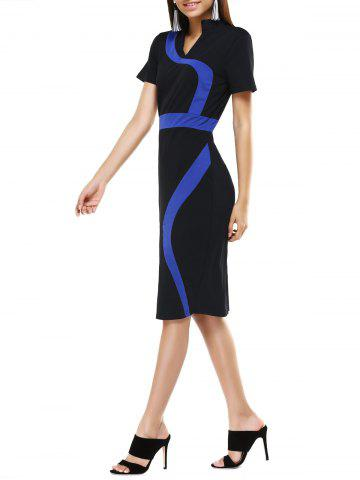 Hot Stand Collar Color Block Midi  Dress