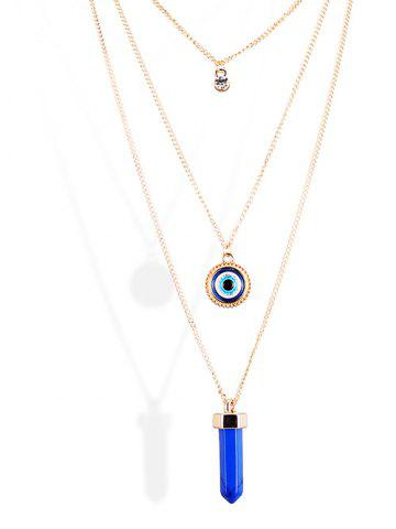 Outfit Rhinestone Bullet Eye Pendant Sweater Chains - GOLDEN  Mobile