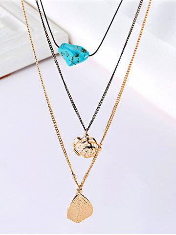 Fancy Charming Leaf Floral Sweater Chains - GOLDEN  Mobile