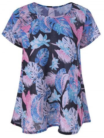 Store Casual Leaf Print Draped Blouse