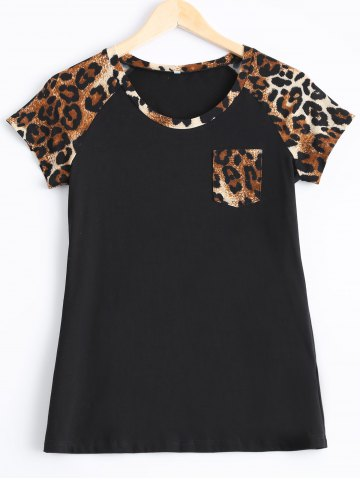 Buy Trendy Leopard Print Single Pocket T-Shirt LEOPARD XL