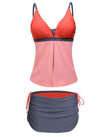 Fancy Spaghetti Strap Color Block Tankini Bathing Suit - XL ORANGEPINK Mobile