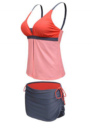 Store Spaghetti Strap Color Block Tankini Bathing Suit - XL ORANGEPINK Mobile