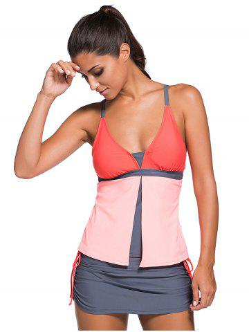 Fashion Spaghetti Strap Color Block Tankini Bathing Suit - L ORANGEPINK Mobile