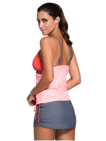 Fancy Spaghetti Strap Color Block Tankini Bathing Suit - L ORANGEPINK Mobile