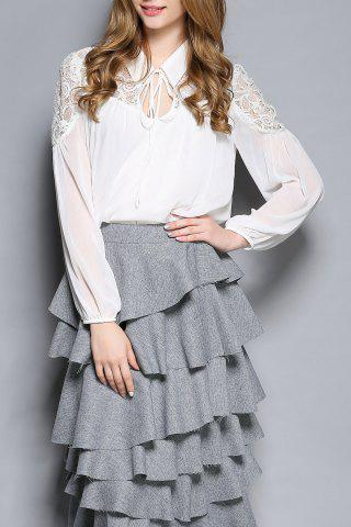 Trendy Hollow Out Lace Spliced Chiffon Blouse WHITE S