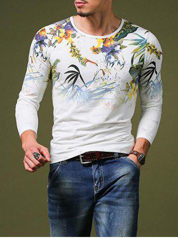Discount Stylish Plant Print Slim Fit Round Neck Long Sleeve T-Shirt For Men WHITE M