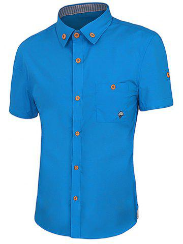 Outfit One Pocket Solid Color Short Sleeves Button-Down Shirt For Men