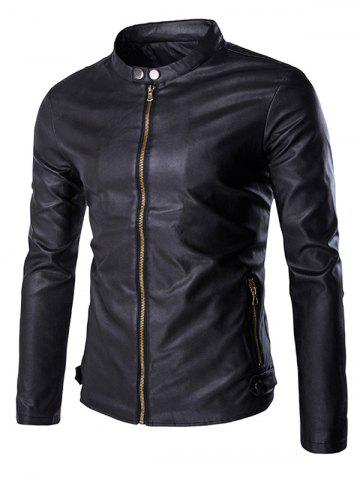 Multi-Zipper Stand Collar Long Sleeves PU Leather Jacket For Men