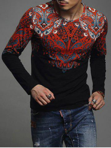 Paisley Print Round Neck Long Sleeve T-Shirt For Men - Black - L