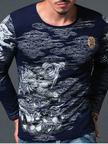 Abstract Print Round Neck Long Sleeve T-Shirt For Men - Sapphire Blue - L