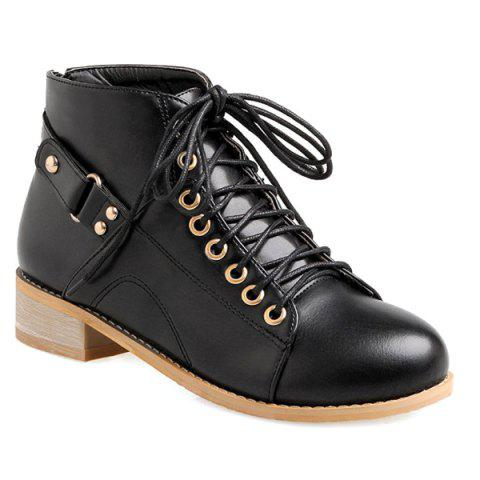Casual Tie Up and Zipper Design Ankle Boots For Women - Black - 38