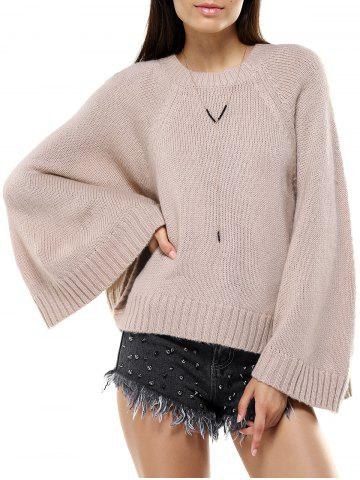 Online Round Neck Bat Sleeve Loose-Fitting Sweater for Women KHAKI ONE SIZE