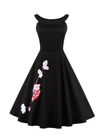 Fancy Floral Embroidered Waisted Corset Cocktail Dress BLACK S