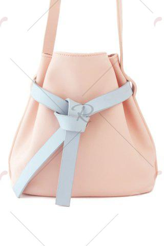 Store Leather Strap Crossbody Bag - BLUE AND PINK  Mobile