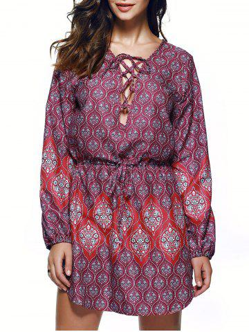 Buy Bohemian Lace Up Drawstring Print Tunic Dress COLORMIX XL