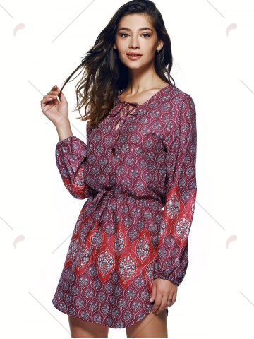 Outfits Bohemian Lace Up Drawstring Print Tunic Dress - M COLORMIX Mobile