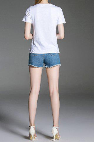 Affordable Sequined Tee and Denim Shorts - M DENIM BLUE Mobile