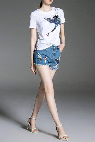 Fancy Sequined Tee and Denim Shorts - M DENIM BLUE Mobile