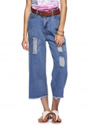 Casual Women's Wide Leg Destroy Wash Ankle Jeans