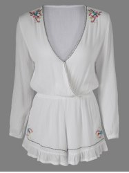 Sweet Embroidered Plunging Neck Long Sleeves Romper For Women -